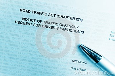 Traffic offence notice letter