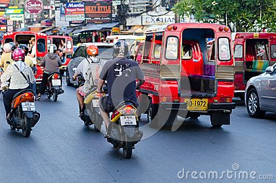 Traffic on Phuket streets in high tourist season Editorial Stock Image