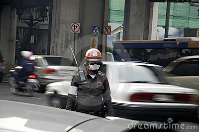 Traffic police in bad environment