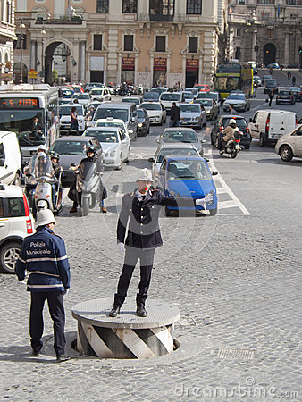 Free Traffic Policeman Regulating Traffic On City Streets. Royalty Free Stock Images - 98558669