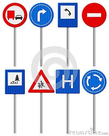 Traffic road sign set
