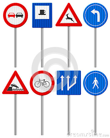 Traffic road sign set