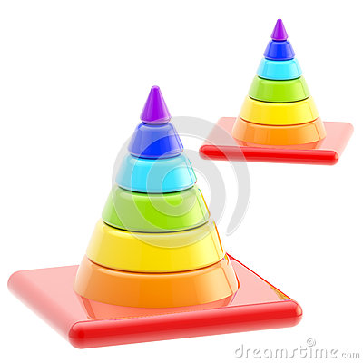 Traffic safety rainbow road cones isolated