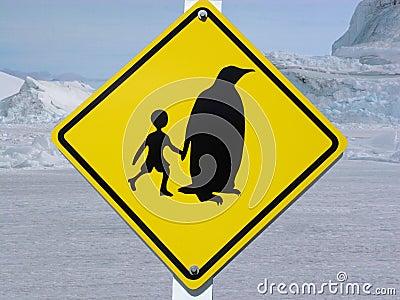 Traffic sign in Antarctica