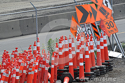 Traffic sign and cone