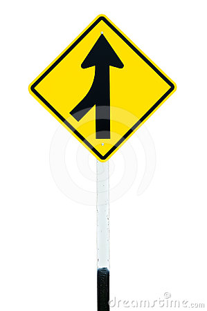 Free Traffic Sign  Lanes Merging Left Royalty Free Stock Photos - 24349528