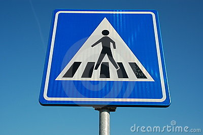 Traffic sign; pedestrian crosswalk