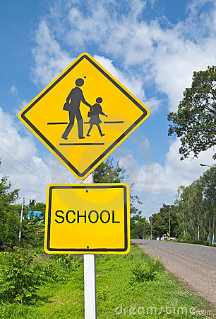Free Traffic Sign (School Warning Sign) And Blue Sky. Royalty Free Stock Photos - 19970548