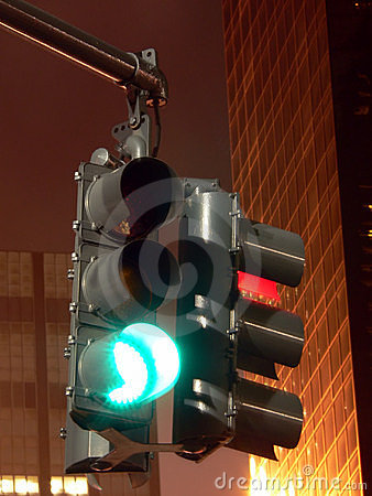 Traffic Signal at Night -- Stop and Go