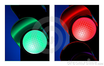 Traffic signal red and green