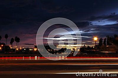 Traffic Streaks at Sunset