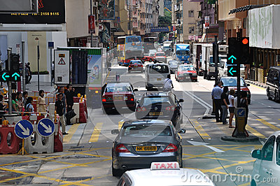 Traffic and street environment in Hongkong Editorial Photo