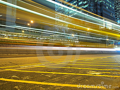 Traffic Strips in the City at Night