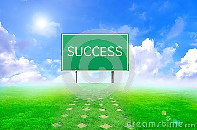 Traffic success sign and green background