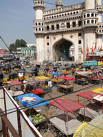 Traffic surrounds the Charminar Editorial Photo