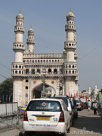 Traffic surrounds the Charminar Editorial Image