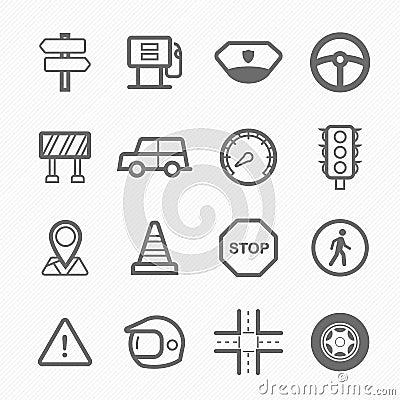 Traffic symbol line icon set