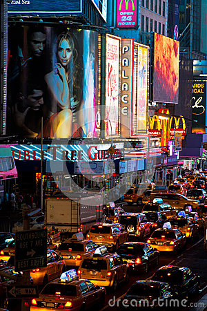Traffic at Times Square Editorial Photo