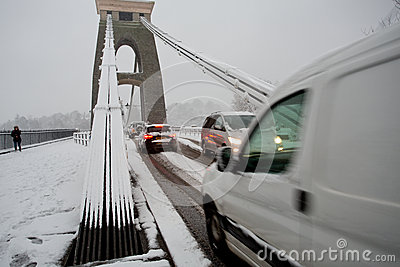 Traffic trying to cross Clifton Suspension bridge Editorial Image