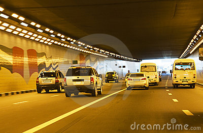 Traffic in Tunnel at Dubai, UAE