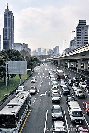 Traffic under Yan An Overhead Road (Shanghai) Editorial Photo