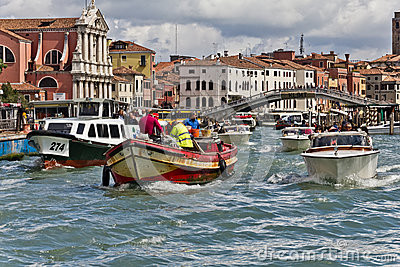 Traffic on Venice Grand Canal Editorial Stock Image