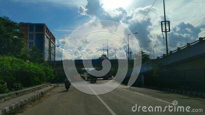 Traffic view in Domlur, Bangalore stock video footage