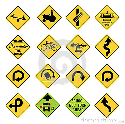 Free Traffic Warning Signs In The United States Royalty Free Stock Images - 29821839