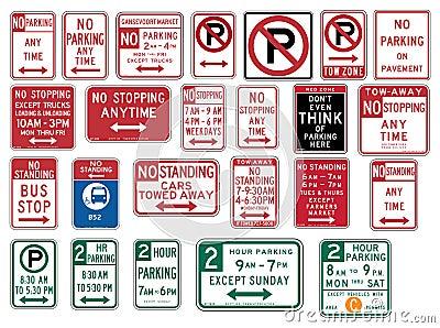 Trafikera tecken i Förenta staterna - inget parkera