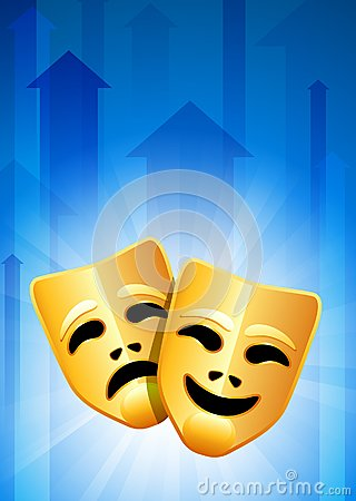 Tragedy and Comedy Masks on Blue Arrow Background