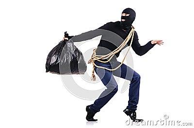 Tragender Kopfschutz des Einbrechers