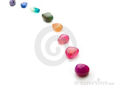 Trail of colorful natural gem stones.