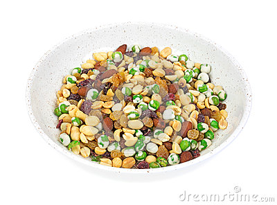 Trail mix in bowl