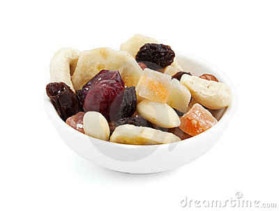 Trail mix in a small bowl