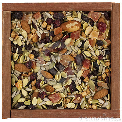Free Trail Mix With Nuts In A Wooden Box Stock Photo - 8405700