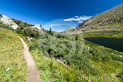 Trail Through Mountain Lake Landscape