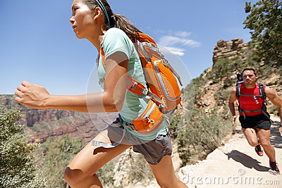 Trail runner cross country running Grand Canyon