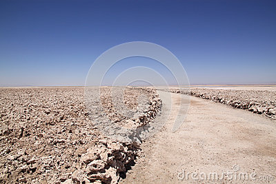 Trail through Salar de Atacama, Chile