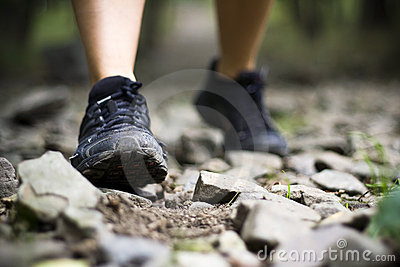 Trail walking in mountains