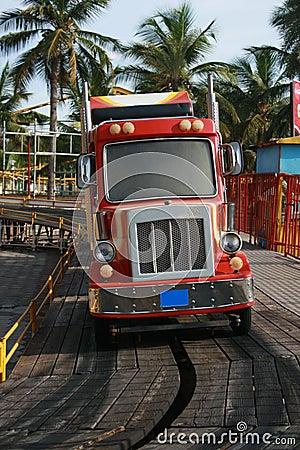 Trailer Bus Ride for Children In Amusement Park