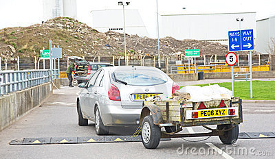 Trailer carrying material for recycling. Editorial Photo