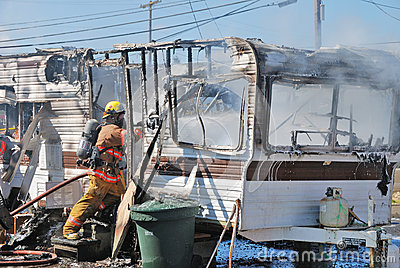 Trailer Fire Editorial Stock Image