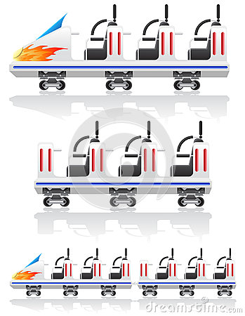 Trailers for roller coasters vector illustration
