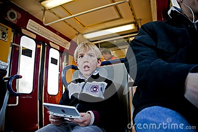 On a train Editorial Stock Image