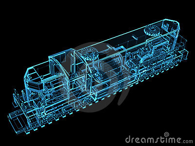 Train 3D rendered blue