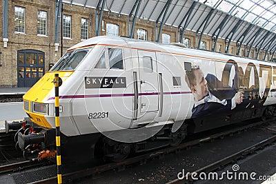Train advertising James Bond film Skyfall Editorial Image