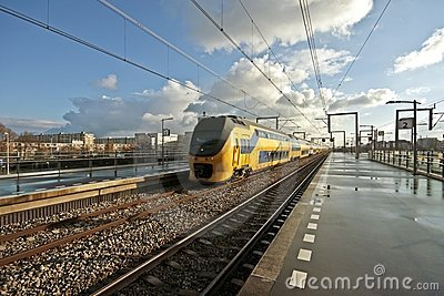 Train arriving in Amsterdam Netherlands