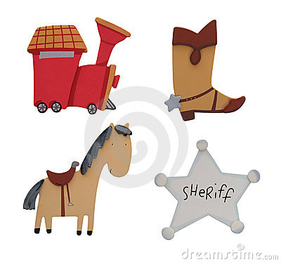 Train, Boot, Horse, and Badge