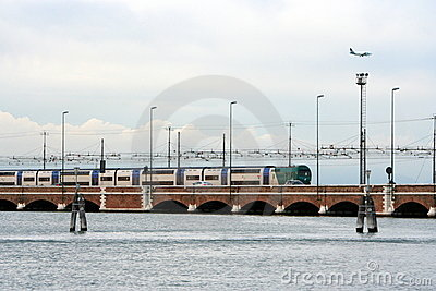 Train bridge on the adriatic sea