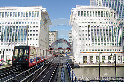 Train at Canary Wharf Station, Docklands Editorial Stock Photo